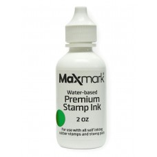 MaxMark Premium Refill Ink for self inking stamps and stamp pads, Green Color - 2 oz.