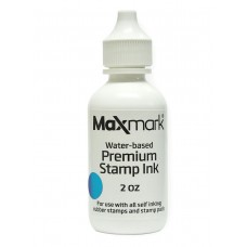 MaxMark Premium Refill Ink for self inking stamps and stamp pads, Light Blue Color - 2 oz.