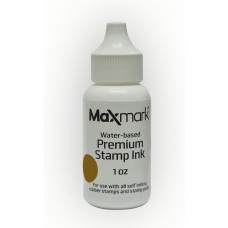 MaxMark Premium Refill Ink for self inking stamps and stamp pads, Brown Color - 1 oz.