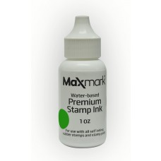 MaxMark Premium Refill Ink for self inking stamps and stamp pads, Green Color - 1 oz.