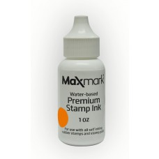 MaxMark Premium Refill Ink for self inking stamps and stamp pads, Orange Color - 1 oz.