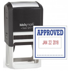 "MaxMark Q43 (Large Size) Date Stamp with ""APPROVED"" Self Inking Stamp - Blue/Red Ink"