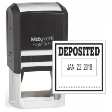 "MaxMark Q43 (Large Size) Date Stamp with ""DEPOSITED"" Self Inking Stamp - Black Ink"