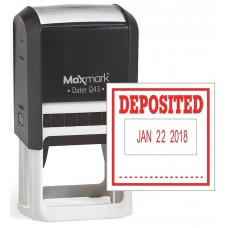 "MaxMark Q43 (Large Size) Date Stamp with ""DEPOSITED"" Self Inking Stamp - Red Ink"