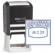 "MaxMark Q43 (Large Size) Date Stamp with ""DEPOSITED"" Self Inking Stamp - Blue Ink"