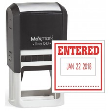 "MaxMark Q43 (Large Size) Date Stamp with ""ENTERED"" Self Inking Stamp - Red Ink"