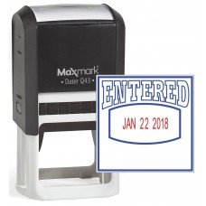 "MaxMark Q43 (Large Size) Date Stamp with ""ENTERED"" Self Inking Stamp - Blue/Red Ink"