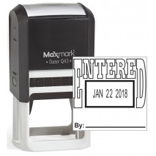 "MaxMark Q43 (Large Size) Date Stamp with ""ENTERED"" Self Inking Stamp - Black Ink"