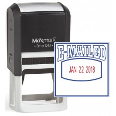 "MaxMark Q43 (Large Size) Date Stamp with ""E-MAILED"" Self Inking Stamp - Blue/Red Ink"