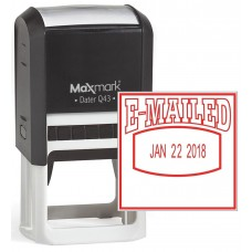 "MaxMark Q43 (Large Size) Date Stamp with ""E-MAILED"" Self Inking Stamp - Red Ink"