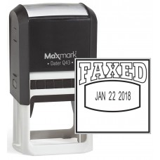 "MaxMark Q43 (Large Size) Date Stamp with ""FAXED"" Self Inking Stamp - Black Ink"