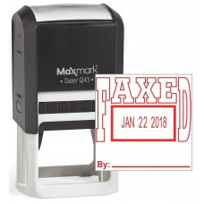 "MaxMark Q43 (Large Size) Date Stamp with ""FAXED"" Self Inking Stamp - Red Ink"
