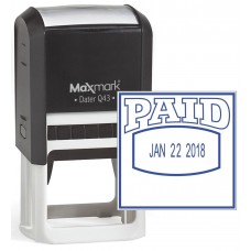 "MaxMark Q43 (Large Size) Date Stamp with ""PAID"" Self Inking Stamp - Blue Ink"