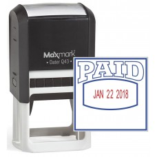 "MaxMark Q43 (Large Size) Date Stamp with ""PAID"" Self Inking Stamp - Blue/Red Ink"