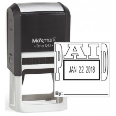 "MaxMark Q43 (Large Size) Date Stamp with ""PAID"" Self Inking Stamp - Black Ink"