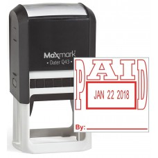 "MaxMark Q43 (Large Size) Date Stamp with ""PAID"" Self Inking Stamp - Red Ink"