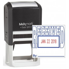 "MaxMark Q43 (Large Size) Date Stamp with ""RECEIVED"" Self Inking Stamp - Blue/Red Ink"