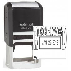 "MaxMark Q43 (Large Size) Date Stamp with ""RECEIVED"" Self Inking Stamp - Black Ink"