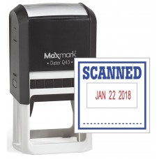 "MaxMark Q43 (Large Size) Date Stamp with ""SCANNED"" Self Inking Stamp - Blue/Red Ink"