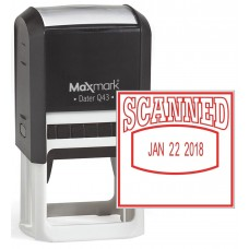 "MaxMark Q43 (Large Size) Date Stamp with ""SCANNED"" Self Inking Stamp - Red Ink"
