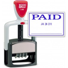 2000 PLUS Heavy Duty Style 2-Color Date Stamp with PAID self inking stamp - Blue Ink