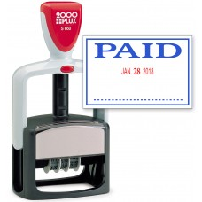 2000 PLUS Heavy Duty Style 2-Color Date Stamp with PAID self inking stamp - Blue/Red Ink