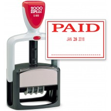 2000 PLUS Heavy Duty Style 2-Color Date Stamp with PAID self inking stamp - Red Ink