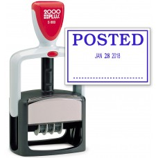 2000 PLUS Heavy Duty Style 2-Color Date Stamp with POSTED self inking stamp - Blue Ink