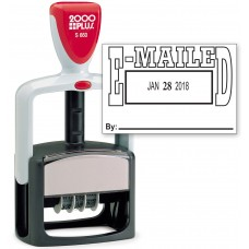 2000 PLUS Heavy Duty Style 2-Color Date Stamp with EMAILED self inking stamp - Black Ink