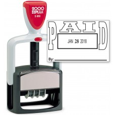 2000 PLUS Heavy Duty Style 2-Color Date Stamp with PAID self inking stamp - Black Ink