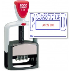 2000 PLUS Heavy Duty Style 2-Color Date Stamp with POSTED self inking stamp - Blue/Red Ink