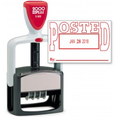 2000 PLUS Heavy Duty Style 2-Color Date Stamp with POSTED self inking stamp - Red Ink