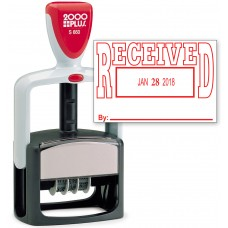 2000 PLUS Heavy Duty Style 2-Color Date Stamp with RECEIVED self inking stamp - Red Ink