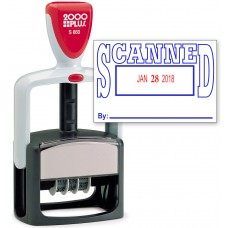 2000 PLUS Heavy Duty Style 2-Color Date Stamp with SCANNED self inking stamp - Blue/Red Ink