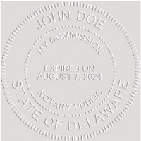 Notary Seal Round Embosser for Delaware State - Includes Gold Burst Seal Labels (42 count)