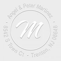 Round Monogram Address Seal Embosser - Style EM020