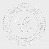 Round Monogram Address Seal Embosser - Style EM025