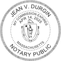 Notary Seal Round Embosser for Massachusetts State - Includes Gold Burst Seal Labels (42 count)