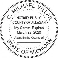Notary Seal Round Embosser for Michigan State - Includes ...