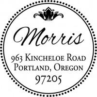 Round Monogram Address Stamp - Style MOAD031