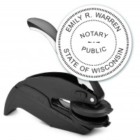 Notary Seal Round Embosser for Wisconsin State - Includes Gold Burst Seal Labels (42 count)