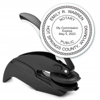 Notary Seal Round Embosser for Wyoming State - Includes Gold Burst Seal Labels (42 count)