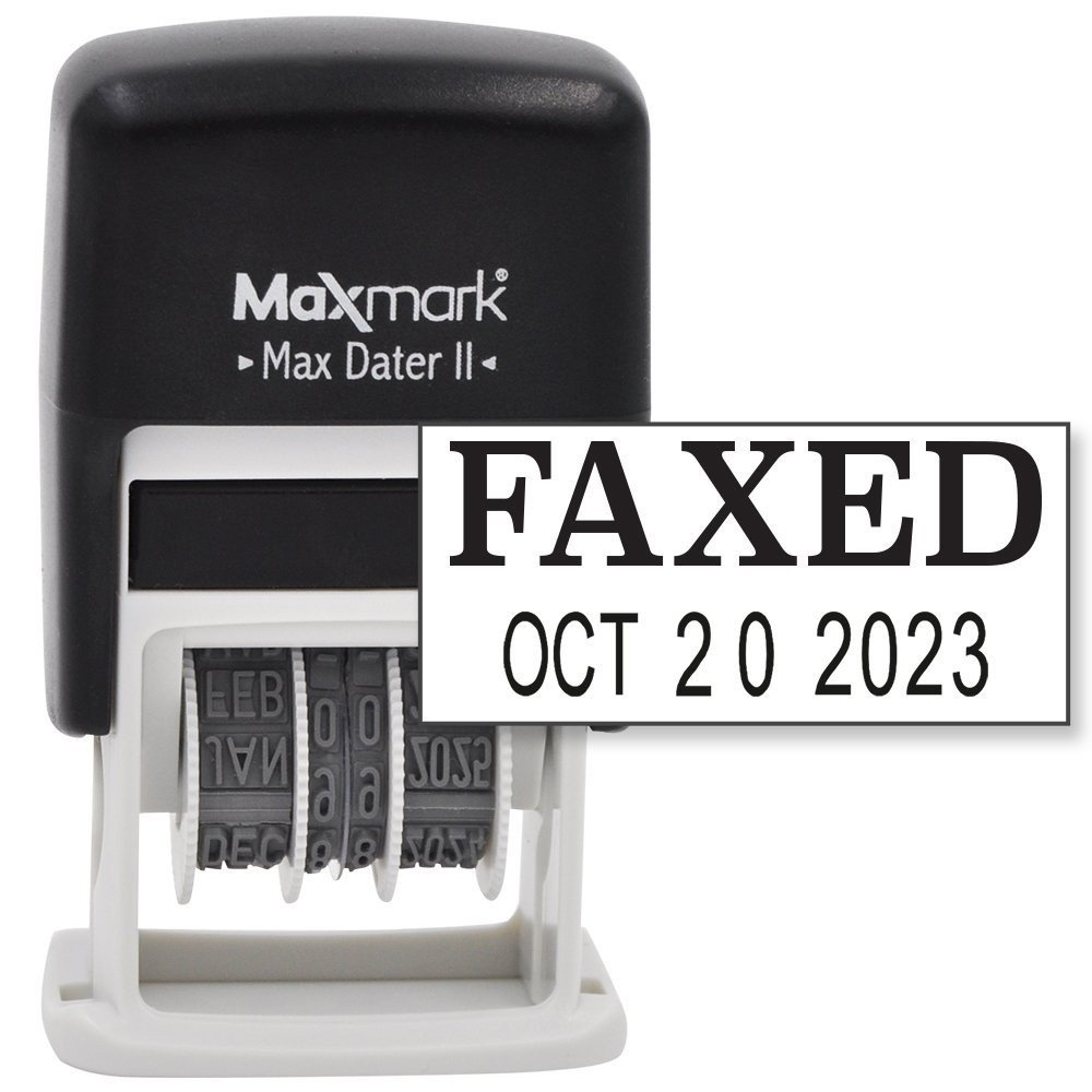 Maxmark Self Inking Rubber Date Office Stamp With Faxed Phrase Amp Date Black Ink Max Dater Ii