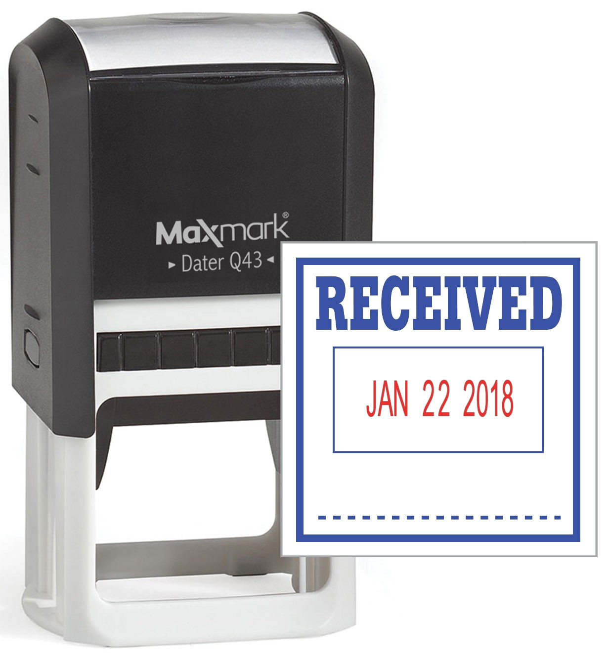 maxmark q43  large size  date stamp with  u0026quot received u0026quot  self inking stamp  red ink